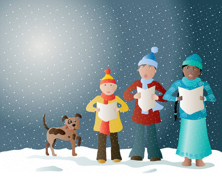 christmas carols: an illustration of carol singers in the snow with their pet dog
