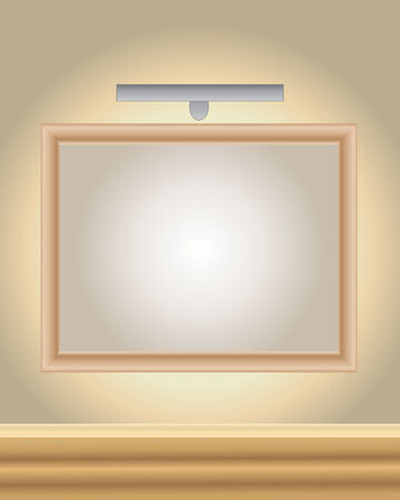an illustration of a wooden picture frame with spot light in an art gallery Vector