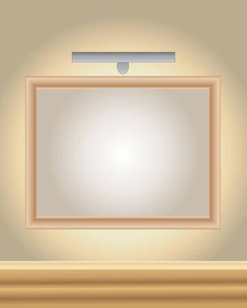 luz focal: una ilustraci�n de un marco de madera de imagen con el foco en una galer�a de arte