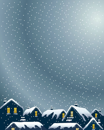 an illustration of buildings on a winter evening with lighted windows and snowy rooftops Stock Vector - 7878535