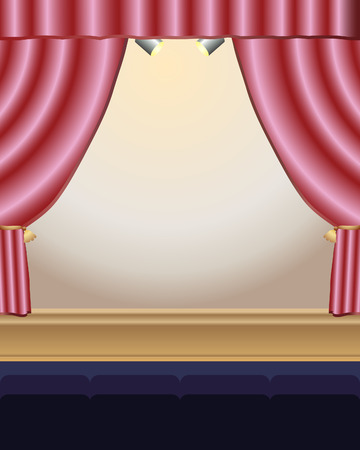 theater auditorium: an illustration of a stage with red satin curtains stage lights and two rows of seats Illustration