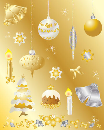 an illustration of christmas design elements set in gold and silver on a gold background Stock Vector - 7878540