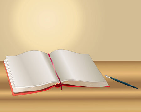 an illustration of an open book with blank pages and a fountain pen on a wooden table