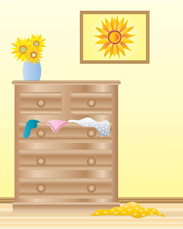 an illustration of a room interior with a wooden chest of drawers wood floor and a framed picture of sunflowers on the wall Vector