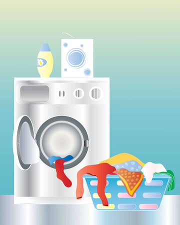 an illustration of a washing machine with an open door and laundry basket on a shiny kitchen floor
