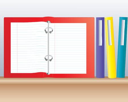 �tag�re bois: une illustration de reliures � anneaux color�s sur un ouvert un du plateau en bois avec des pages vierges de papier � lettres