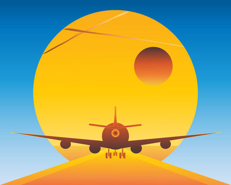 rear wing: an illustration of a back view of a jet plane going down the runway towards the sun Illustration