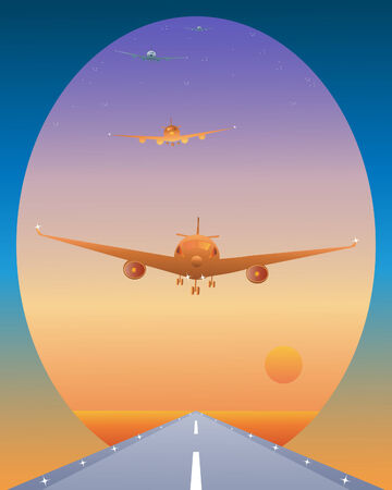 sunup: an illustration of a queue of air traffic coming in to land on a runway at sunrise