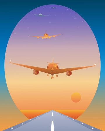 air traffic: una ilustraci�n de una cola de tr�fico a�reo llegando a aterrizar en una pista al amanecer  Vectores