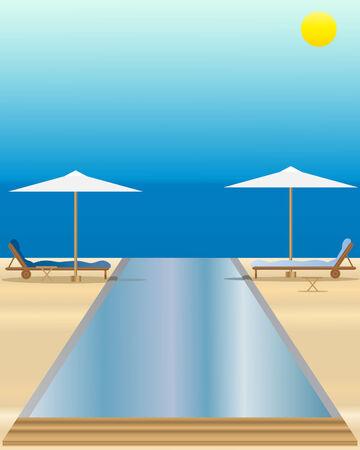 rekolekcje: Ilustracja z puli nieskończoności z loungers słońca i przeciwsłoneczne z przodu krajobraz z słońca