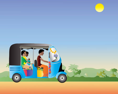 an illustration of a tuk tuk full of people and shopping in an exotic setting