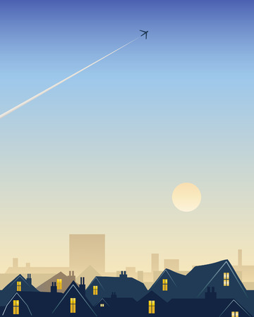 an illustration of city rooftops with a smoky sunrise and an early morning plane trail Vector