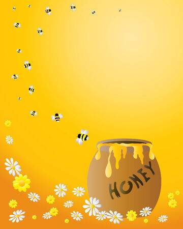 honey pot: an illustration of a honey jar with a spiral of bees flying away on an orange background with flowers