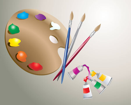 illustation: an illustration of an artists palette with paint brushes and tubes of paint in various colors on a gray background Illustration