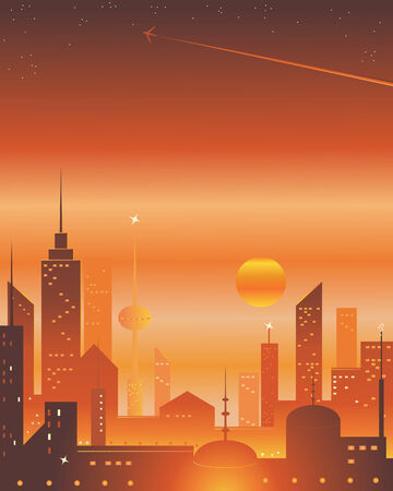 an illustration of an exotic city skyline with a sunset stars and a plane trail Stock Vector - 7970036