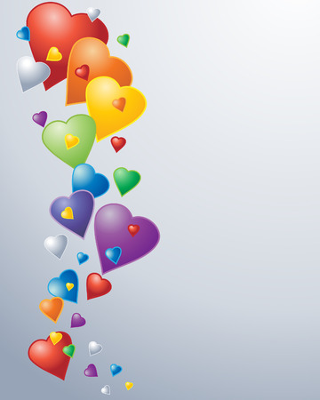 rainbow colors: an illustration of rainbow colored heart shaped balloons in various sizes on a neutral background