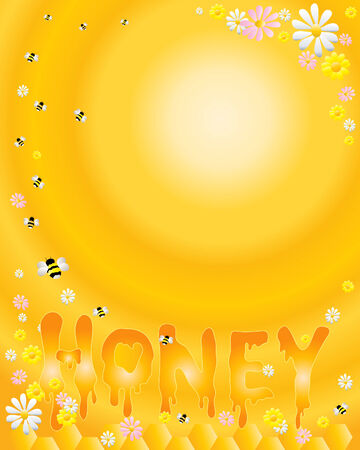 buttercups: an illustration of letters spelling out honey with honeycomb flowers and bees on a golden radial background Illustration