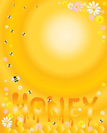 golden daisy: una ilustraci�n de letras deletrear miel con flores de nido de abeja y las abejas sobre un fondo dorado de radial  Vectores