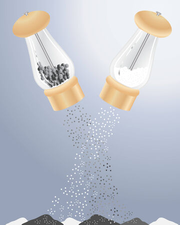 grinder: an illustration of salt and pepper grinders shaking out grains into heaps Illustration