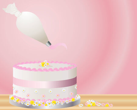 an illustration of a decorated cake on a silver cake board with flowers ribbon icing and a piping bag on a pink radial background Illusztráció