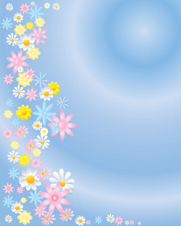 pastel shades: an illustration of daisy flowers in different pastel shades on a blue radial background