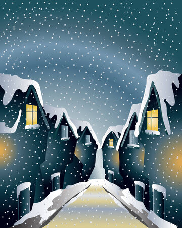 lighted: an illustration of a historical street in winter with lighted windows on a snowy day