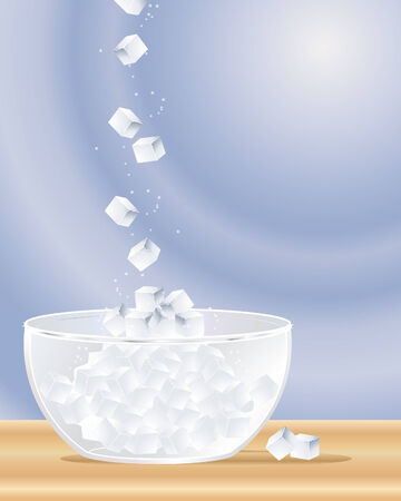 falling cubes: an illustration of sugar cubes falling into a glass sugar bowl on a wooden surface with a blue background