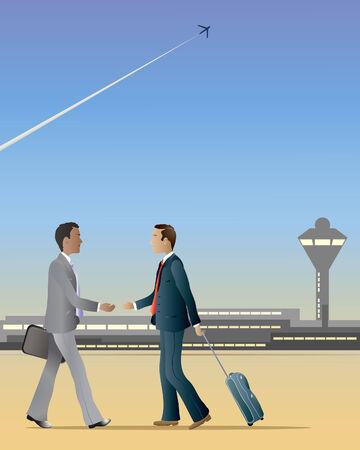 een illustratie van twee zakenlieden op een luchthaven ten opzichte van elkaar lopen ongeveer te schudden handen