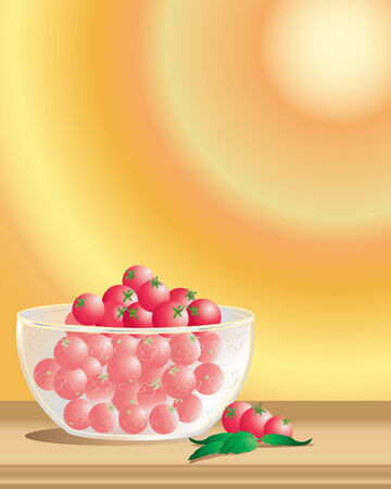 an illustration of a decorated glass bowl full of ripe cherry tomatoes with basil leaves on a wooden surface with a golden radial background Vector