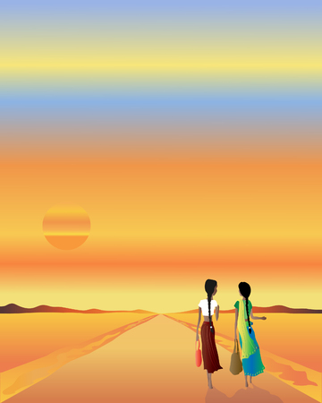 an illustration of two asian women walking home along a road at sunset Stock Vector - 8008748