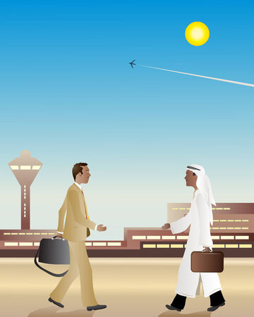 an illustration of two business men at an airport walking towards each other about to shake hands Vector