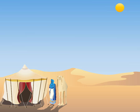 bedouin: an illustration of a desert scene with a touareg and camel standing next to an arabian tent