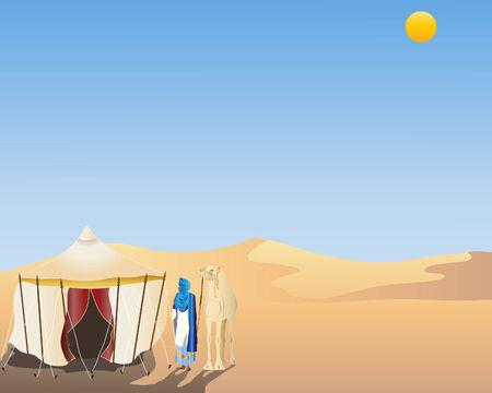una ilustración de una escena desierta con un touareg y camello de pie junto a una carpa árabe