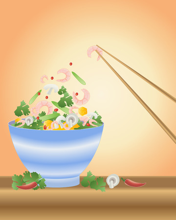 an illustration of a bowl of thai food with prawns coriander pumpkin cillies and beans and chopsticks Vector