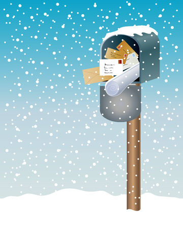 an illustration of an open  mail box with newspapers and letters on a snowy day in winter