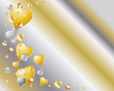 silver: an illustration of gold and silver hearts with sparkles on a metallic background