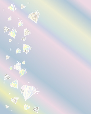an illustration of a shower of diamonds on a colored background Vector