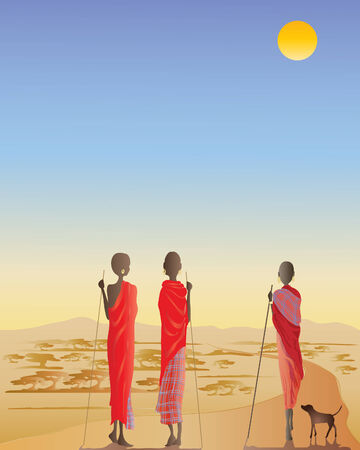 hill distant: an illustration of three masai men on a dirt track with a small dog in front of acacia trees and distant hills Illustration