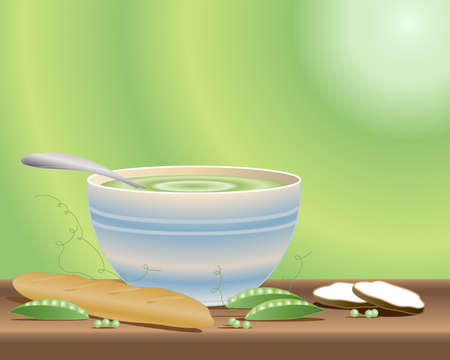 стручки: an illustration of a bowl of pea soup with open pea pods a baguette and crusty bread on a green radial background
