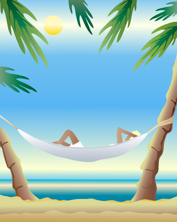 an illustration of a hammock tied between two palm trees with a woman relaxing in front of a sunny ocean Vector