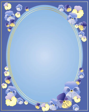 an illustration of multi colored pansy flowers arranged in a border around an oval shape with gold trim