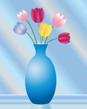 an illustration of a vase of tulips in various colors stood on a glass table an a blue sunlit background