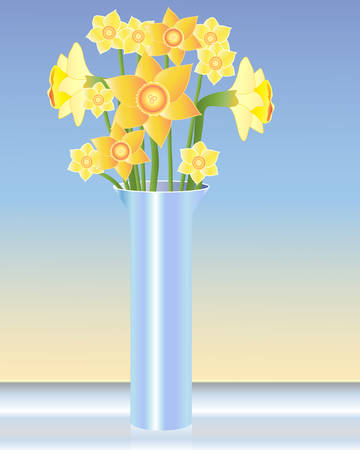 an illustration of a blue vase with an arrangement of daffodils on a glass table Vector