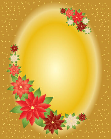 an illustration of winter poinsettia flowers arranged on a golden oval background Stock Vector - 8140618
