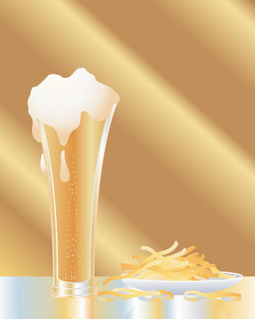 an illustration of a glass of lager with a plate of fries on a glass table with reflections and a sunlit background Illustration