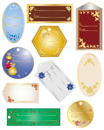 an illustration of various gift tags with different christmas elements on a white background Stock Vector - 8140620
