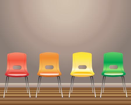 una ilustración de cuatro sillas de sala de espera en rojo amarillo anaranjado y verde contra una pared en blanco