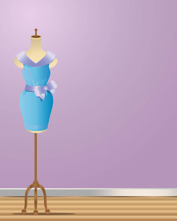 dressmaking: an illustration of a dressmakers manikin with a completed party dress on a wooden floor with a purple background Illustration