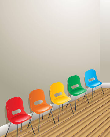 waiting in line: an illustration of five chairs against a wall in a waiting room with a wooden floor