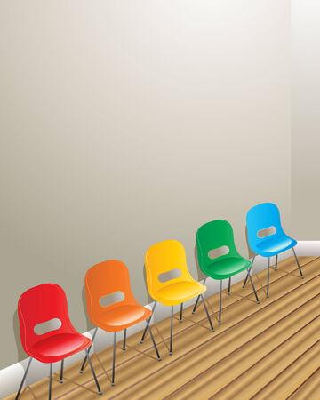 board room: una ilustraci�n de cinco sillas contra una pared en una sala de espera con piso de madera